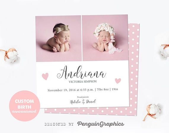 Birth announcement card Personalized baby girl announcement card