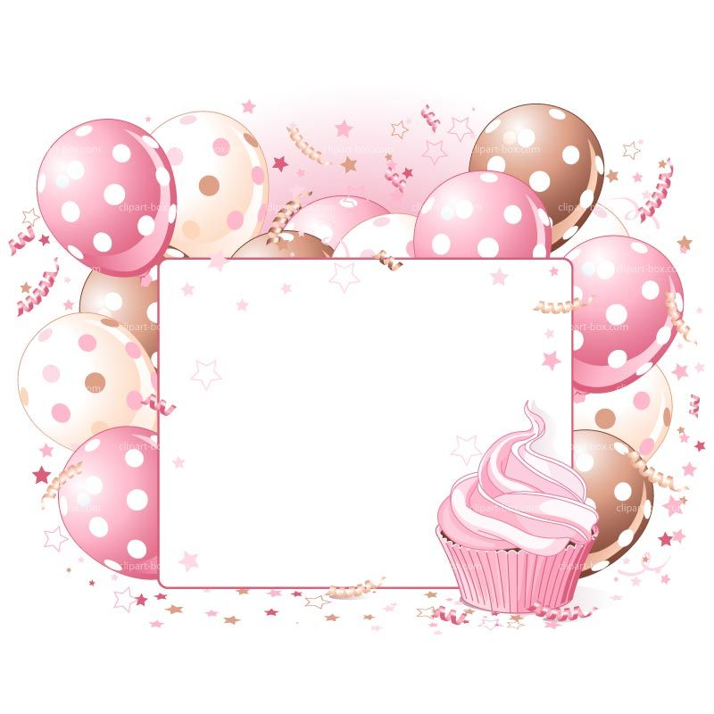 clipart pink party balloon card