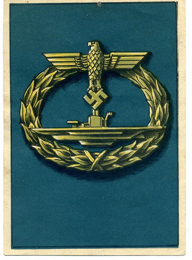 A German U Boat Badge Post Card This Is Part Of The German Set