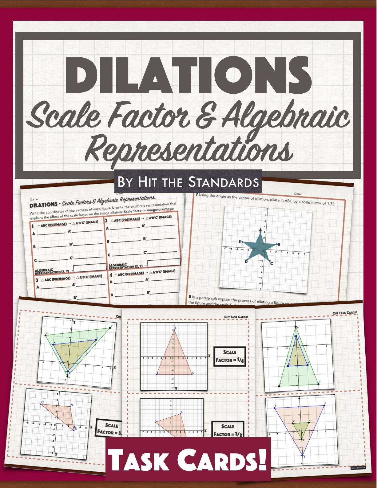 Transformations Dilation On Coordinate Plane Algebraic Representations Summer School Math Activities Fall Math Activities Winter Math Activities