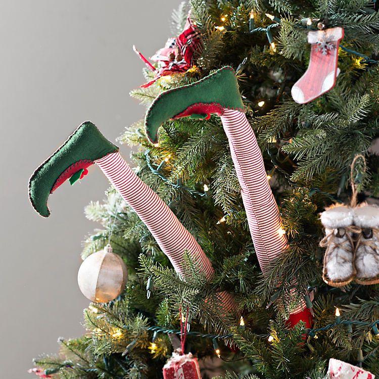 Striped Elf Leg Picks Set Of 2 Kirklands Christmas Yard Decorations Christmas Decorations Rustic Christmas Tree Decorations