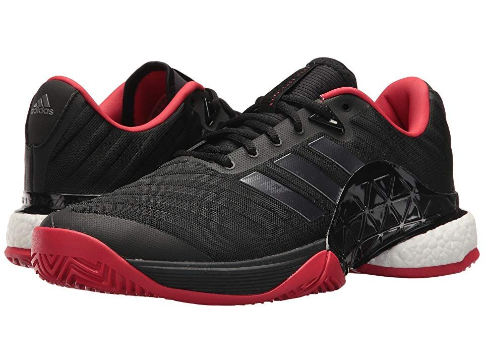 adidas Barricade 2018 Boost BlackNightScarlet Mens Tennis Shoes Elevate your game with the courthugging prowess of the Barricade 2018 Boost tennis shoes from adidas Seaml...
