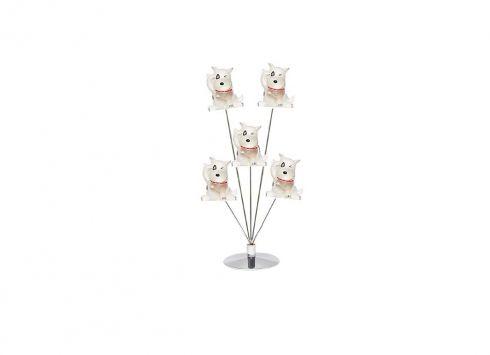 FOTO CLIP 5 PEZZI CANE. Porta foto con 5 clip con stelo in metallo e piccoli cani in plastica satinata di colore bianco
