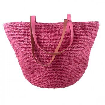 Grande saco de ráfia rosa, saco de praia