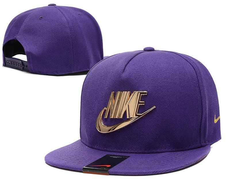 0b2e6234e79 Mens Nike The Classic Nike Iron Gold Metal Logo A-Frame USA 2016 Best  Quality Fashion Leisure Snapback Cap - Purple