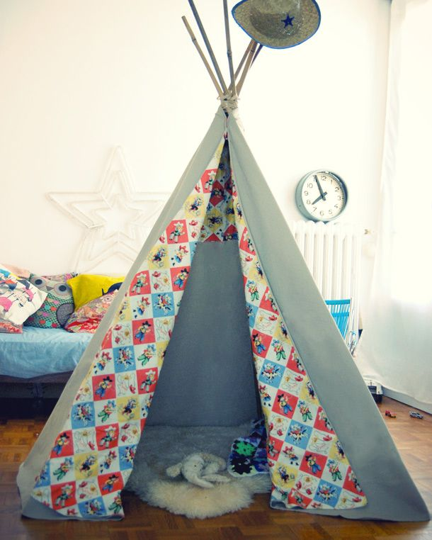 diy un tipi facile chambre pour enfant petite cabane. Black Bedroom Furniture Sets. Home Design Ideas