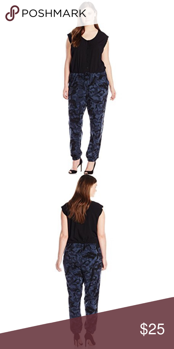 5a087cdb1fa DKNY jeans women plus size camo print jumpsuit Sleeveless jumpsuit with  camouflage print pants. Scoop neckline. Straight front and back yoke.