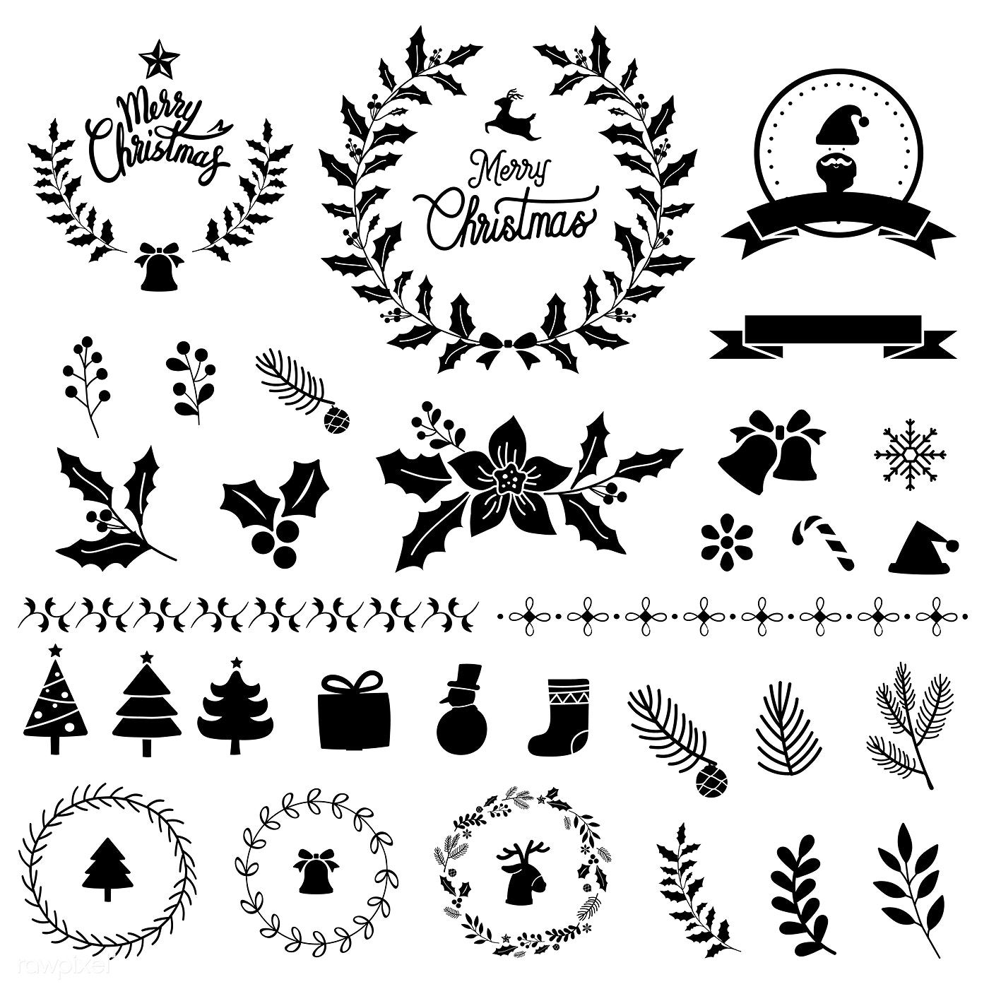 Set of Christmas design elements vector free image by