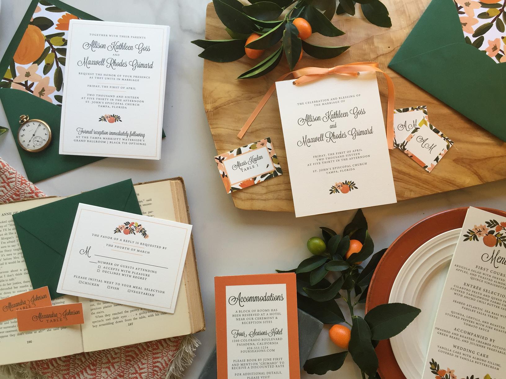 Citrus Invitation Suite, Orange Blossom Invitation Suite, Orange ...
