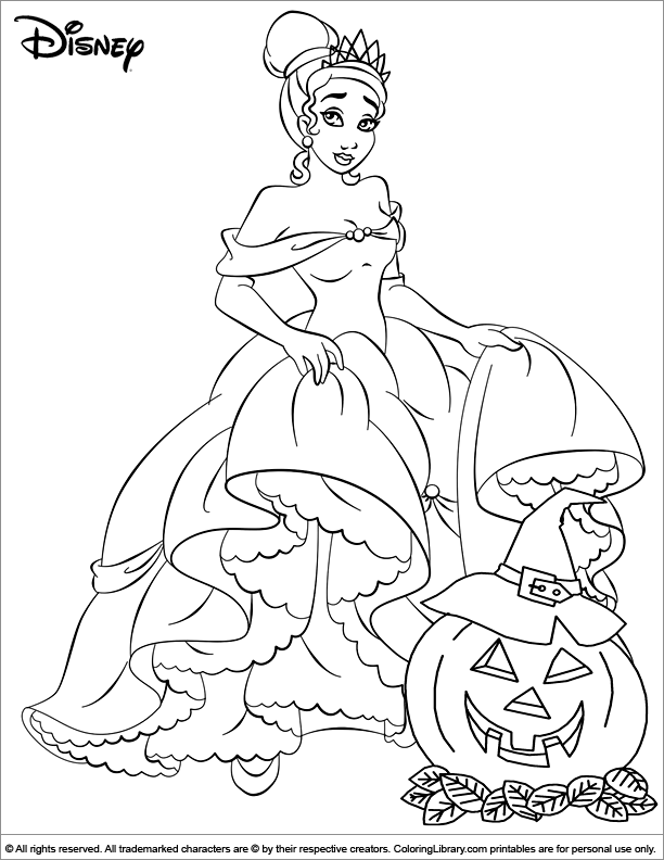 Halloween Disney Kids Craft Activity Color The Princess From The Movie The Princess And Halloween Coloring Pages Disney Coloring Pages Princess Coloring Pages