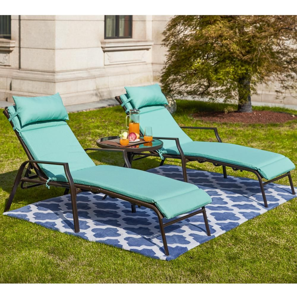 - Patio Festival 3-Piece Metal Outdoor Chaise Lounge With Aqua