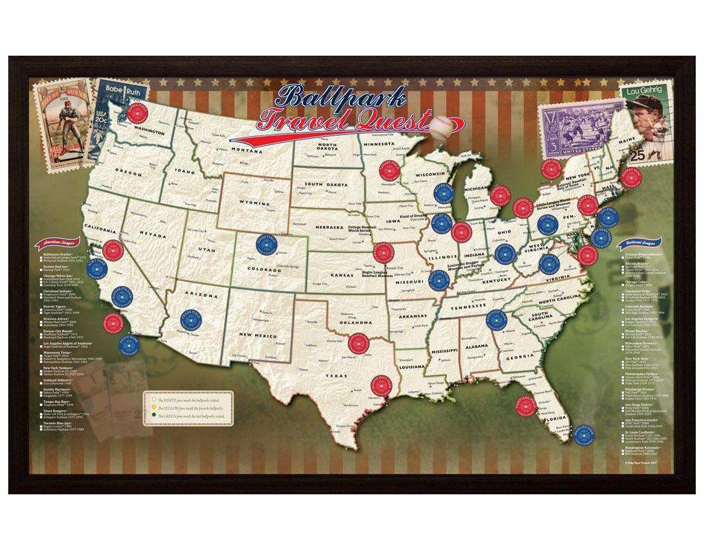 Ballpark Travel Quest Map Baseball Stadium Map Baseball Posters Baseball Stadium