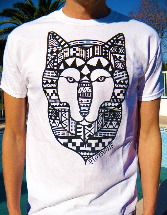 9d8c05e3961 WOLF AZTEC T-SHIRT mens print boys 80s retro tribal native american indian  top new white era hip hop clothing shirt art fabric aminal vtg