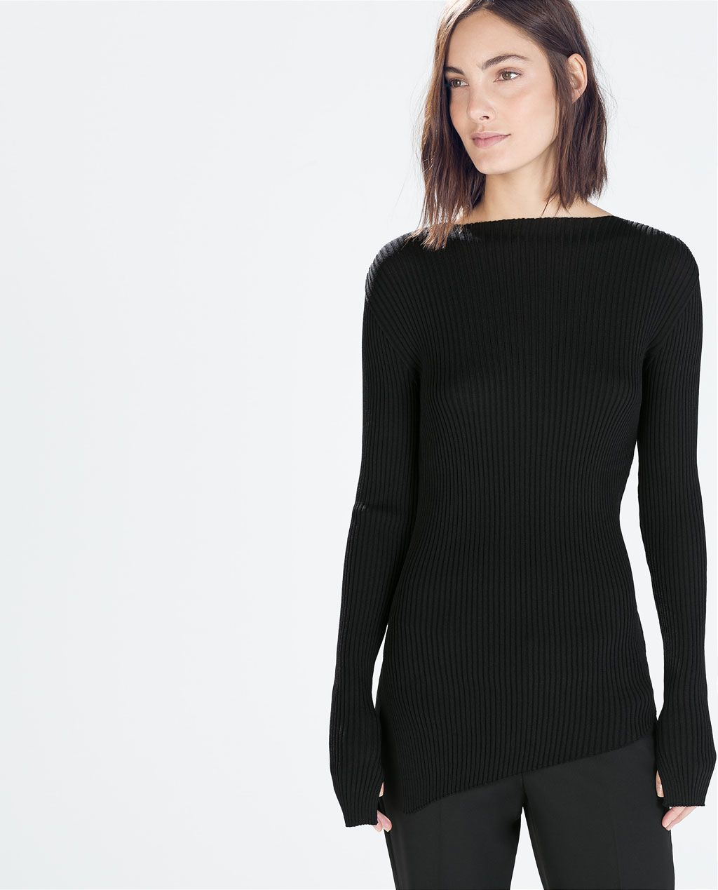 Image 2 of RIBBED BOAT NECK SWEATER from Zara   lace and knits ... d48752b736