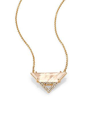 Alexis+Bittar Citrine+Doublet,+Mother-Of-Pearl+&+Pave+Crystal+Pendant+Necklace