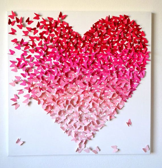 Butterfly Heart Color Gradient Canvas Art Handmade by LoveCreator, $55.00
