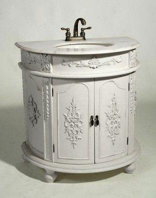 Antique White Floral French Bathroom Wash Basin Sink Storage