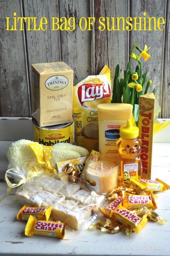 Little Bag Of Sunshine -the perfect gift for someone who could use a little sunshine, great ideas of all kinds of thoughtful yellow gifts sure to brighten anyones day.