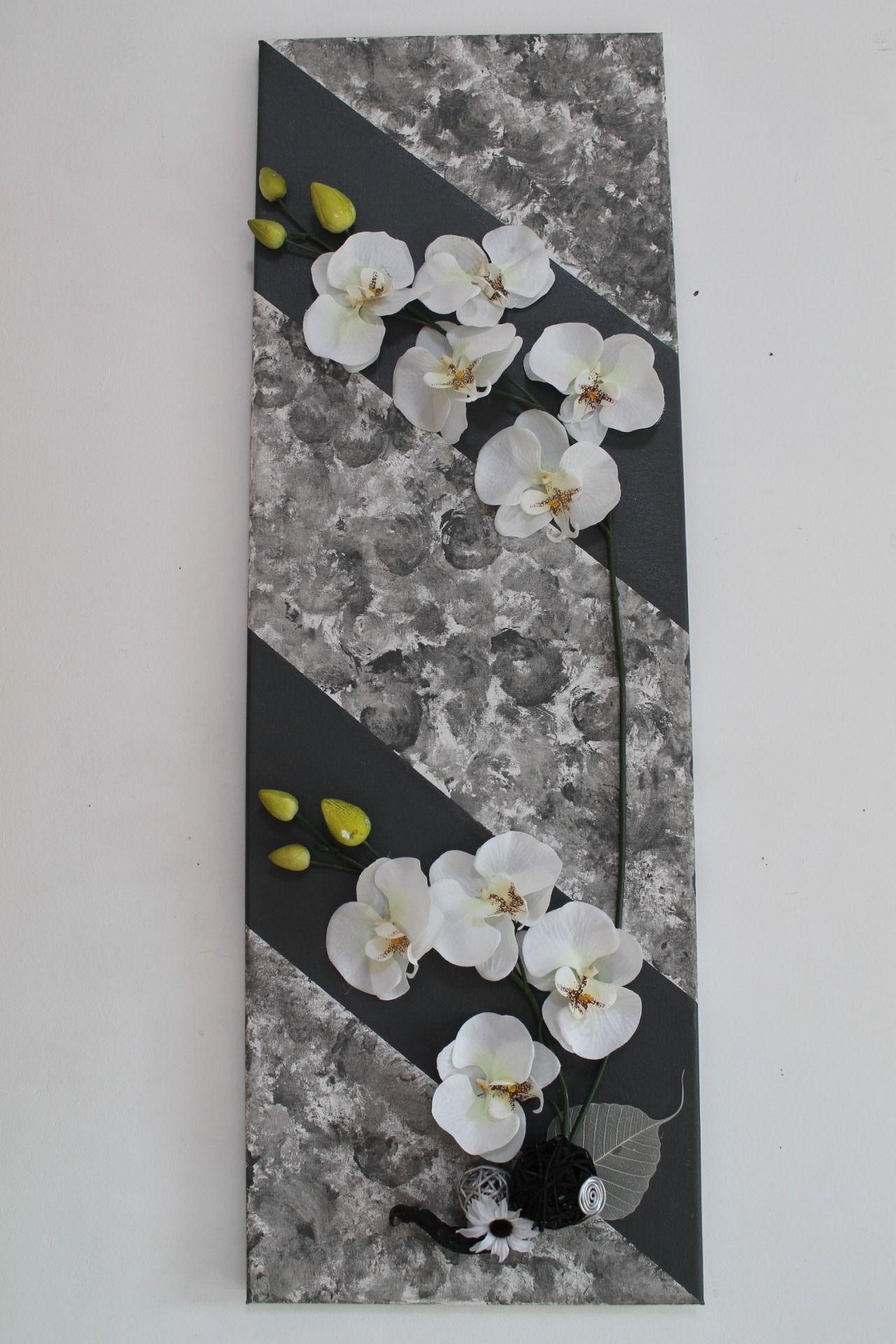 tableau floral 3d avec phalaenopsis en soie vendu d corations murales par s pass deco. Black Bedroom Furniture Sets. Home Design Ideas