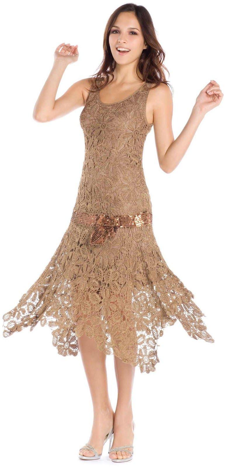 657c1bbb35f8 Vestido crochê irlandês   Arte do feito à mão   Vestidos de crochê ...