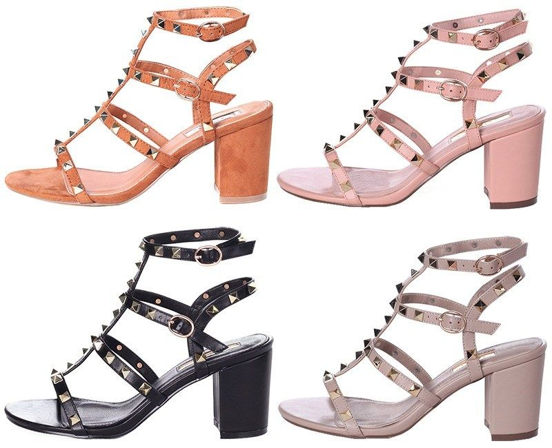 0ccb18dff84 Linzi Tessa Studded Gladiator Block Heeled Sandals (Valentino Rockstud dupe)