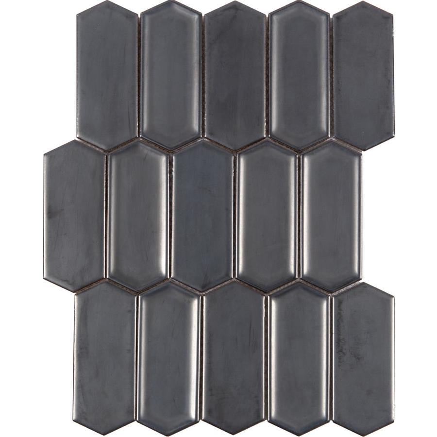 Anatolia Tile Hudson Hudson Gunmetal Metallic Mosaic Porcelain Common Actual 13 46 In X 10 16 In A Porcelain Mosaic Porcelain Wall Tile Mosaic Wall Tiles