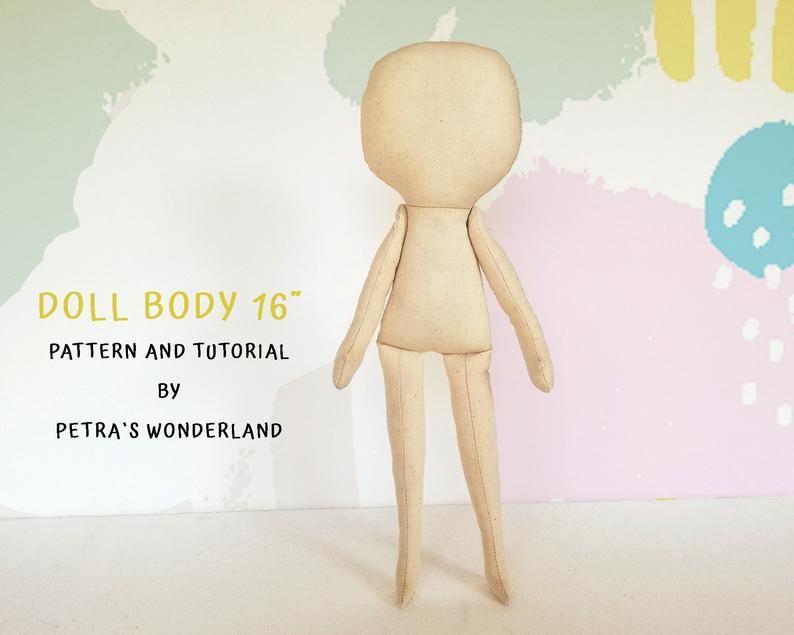 PDF, Cloth Doll Pattern 16, Rag Doll Pattern and Sewing Tutorial, Doll Sewing Pattern, Soft Doll Pattern, pdf Blank Doll Body Easy Pattern #instructionstodollpatterns
