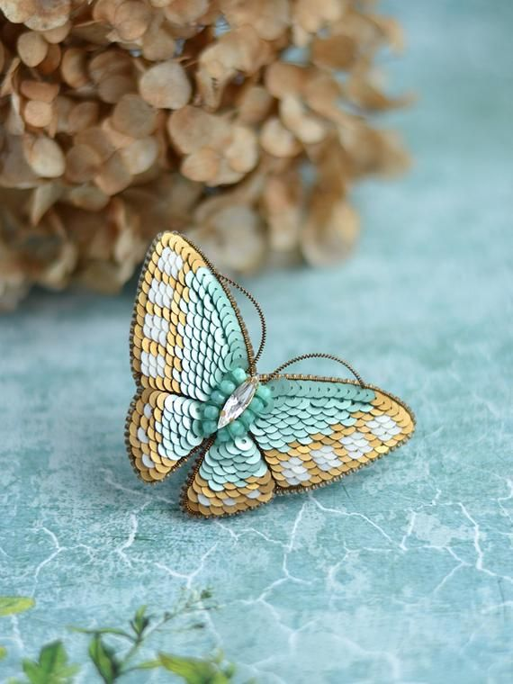 0601cf18675 Pale Green Butterfly Brooch Made with Sequins Embroidered Butterfly Pin  Broach Trendy Insect Jewelry