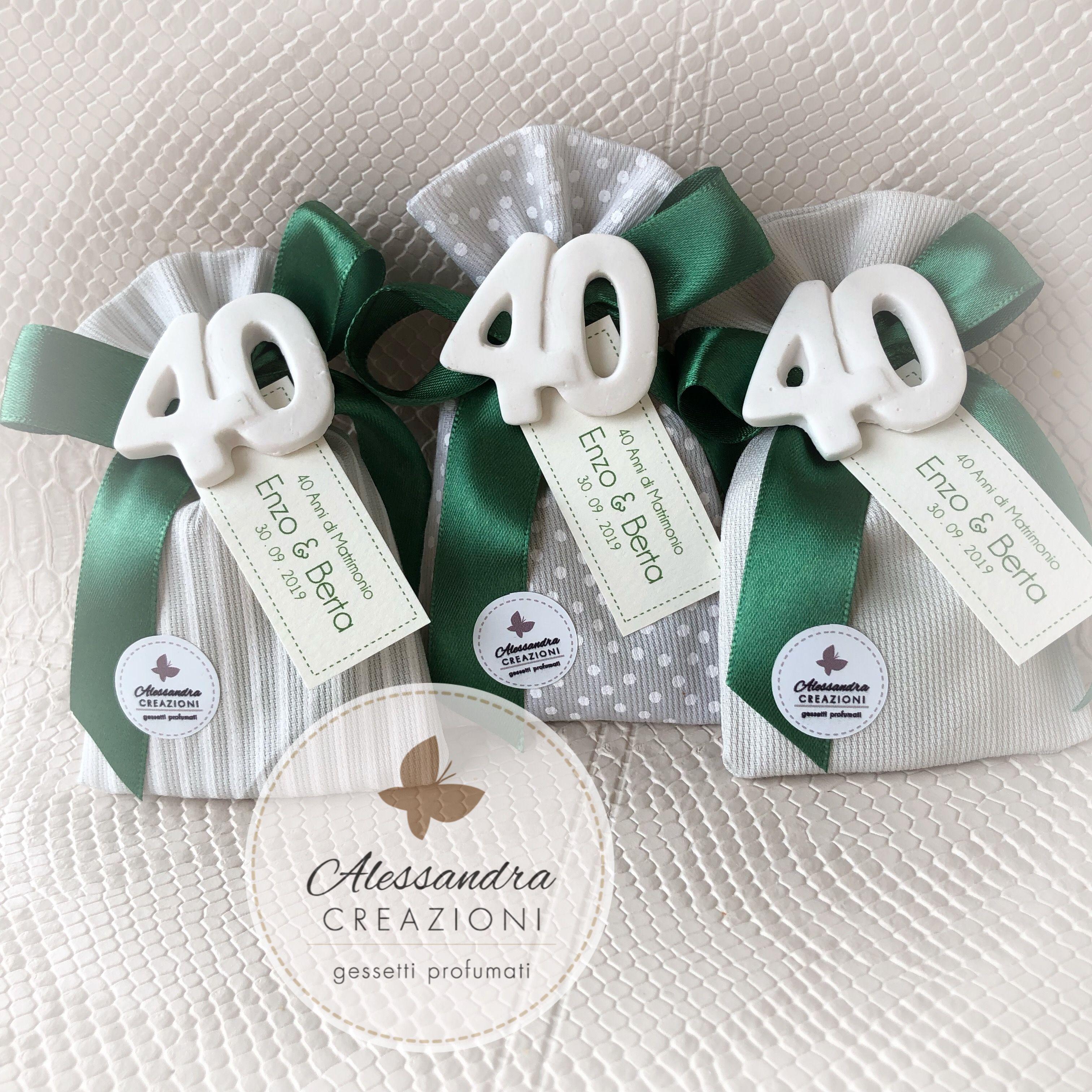 Conosciuto Bomboniere Anniversario Matrimonio Verde Smeraldo Gessetti 40 anni HX91