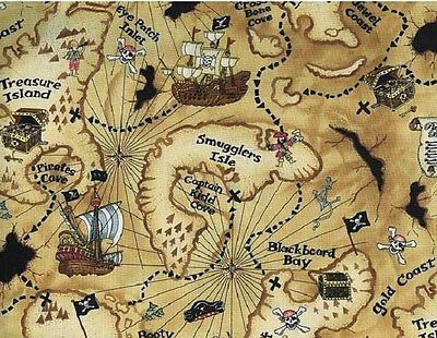Timeless Treasures - Tan Pirate Treasure Map Cotton Fabric By the - best of world map fabric etsy