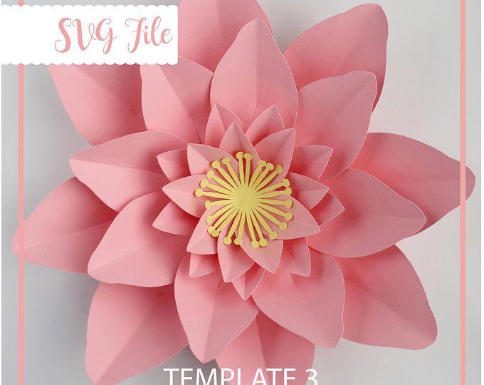 Svg Petal 140 Paper Flowers Template W Flat Center For Cricut