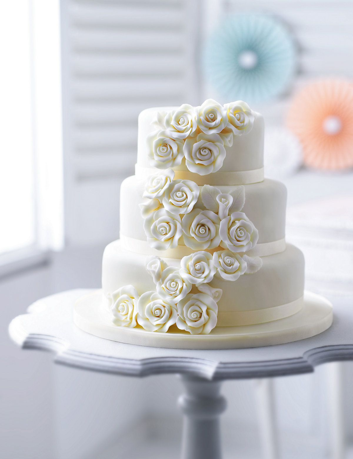 Classic Rose Sponge Wedding Cake | M&S | Wedding Cake | Pinterest ...