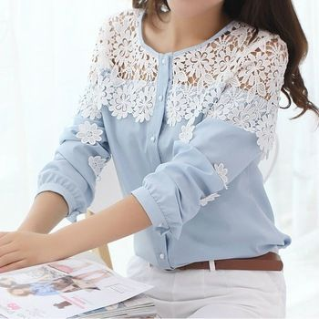 2014 Primavera New coreano de manga comprida Esvazie Crochet rendas Patchwork Chiffon camisa camisa blusa de renda das mulheres
