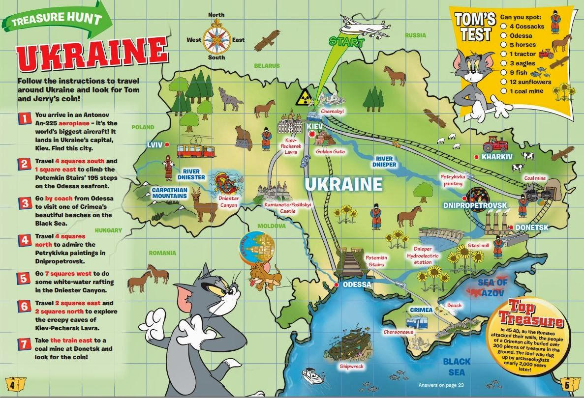 Kids Ukraine Map search for various items on the map Huseniata