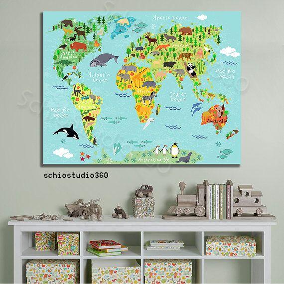 Tierische Weltkarte Weltkarte Kindergarten von