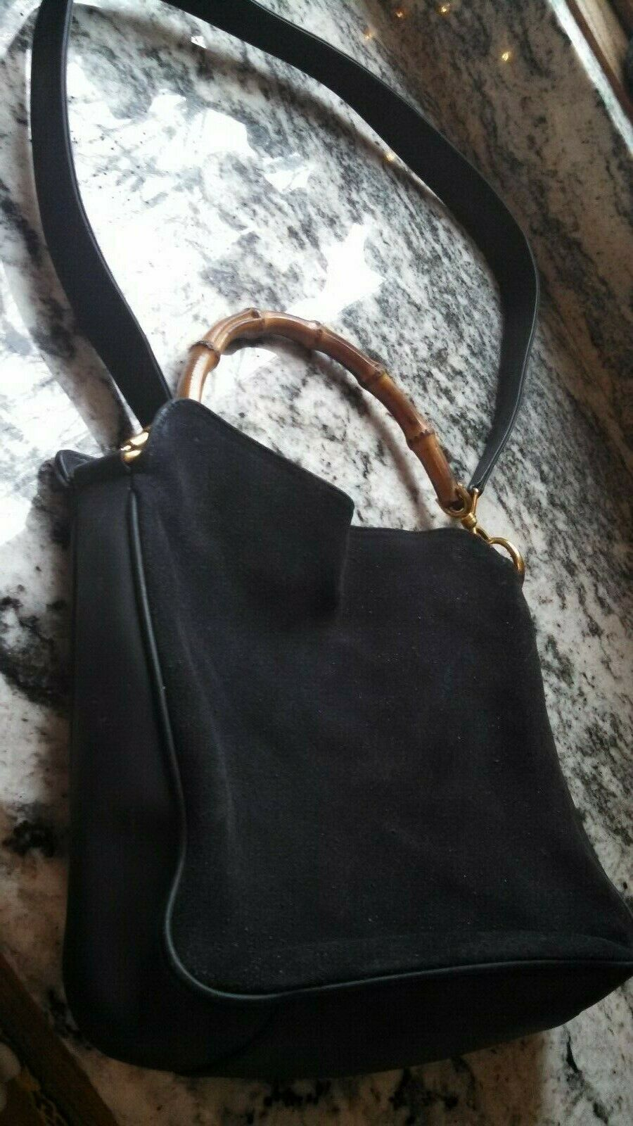 b3b943616 Details about Auth GUCCI Bamboo Classic Black Leather Handbag w ...