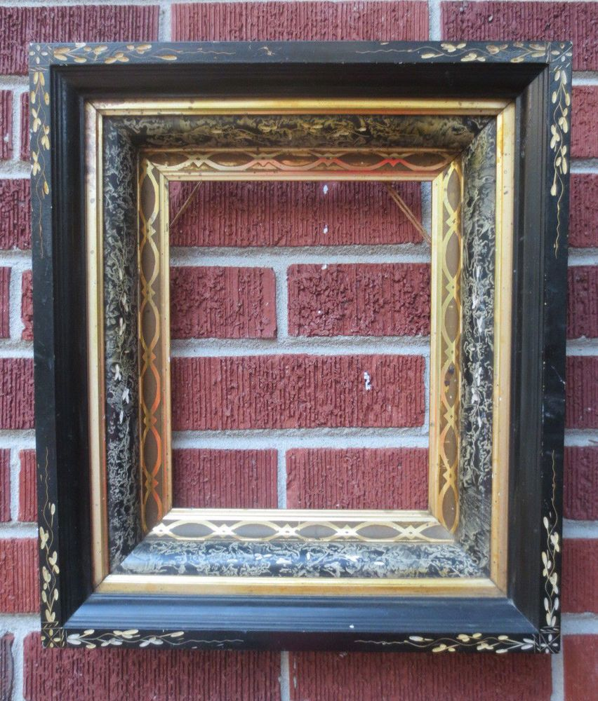 Antique VICTORIAN Eastlake EBONIZED Gold Stenciled Picture Frame 8 x ...