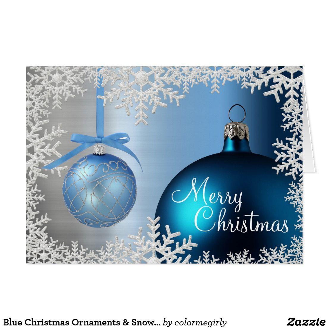 Blue Christmas Ornaments Snowflake Border Card