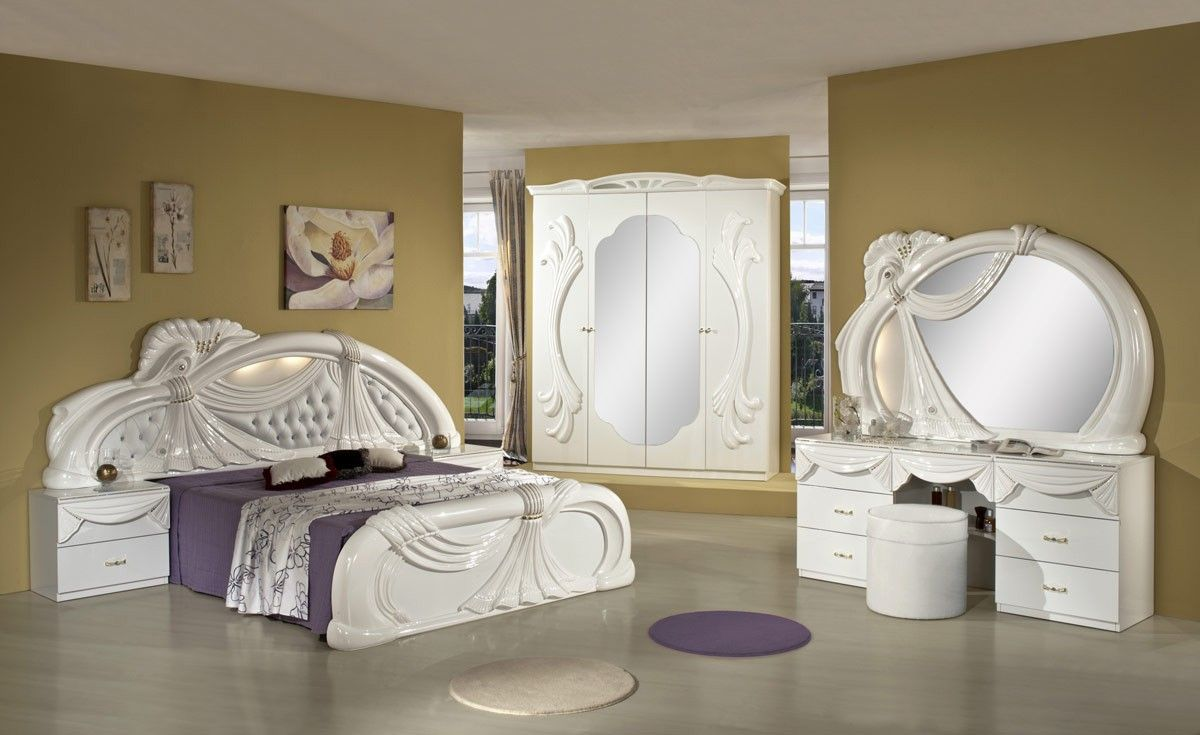 Gina White Italian Classic Bedroom Set Made In Italy White