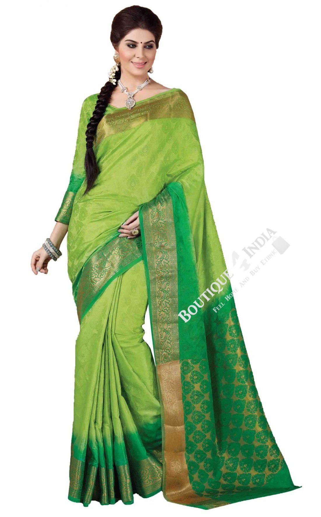 5d65f28fbfd44d Sarees - Light And Dark Green Silk Saree Collections - Traditional Silk  Saree   Wedding   Bridal   Party Wear