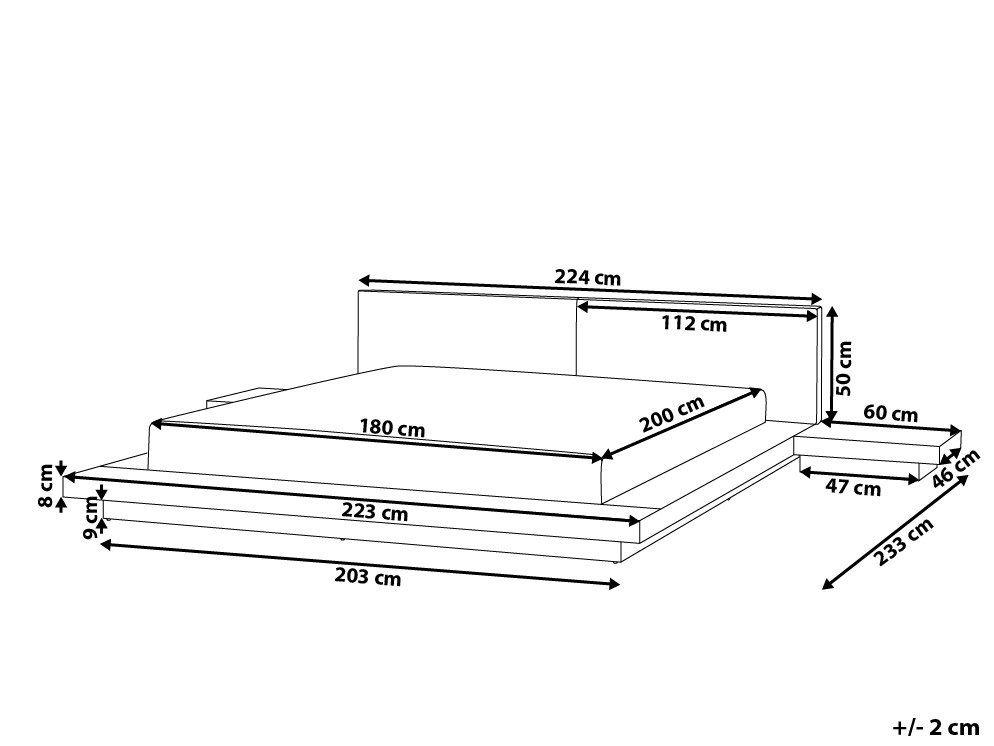 Łóżko jasne drewno 180 x 200 cm ZEN