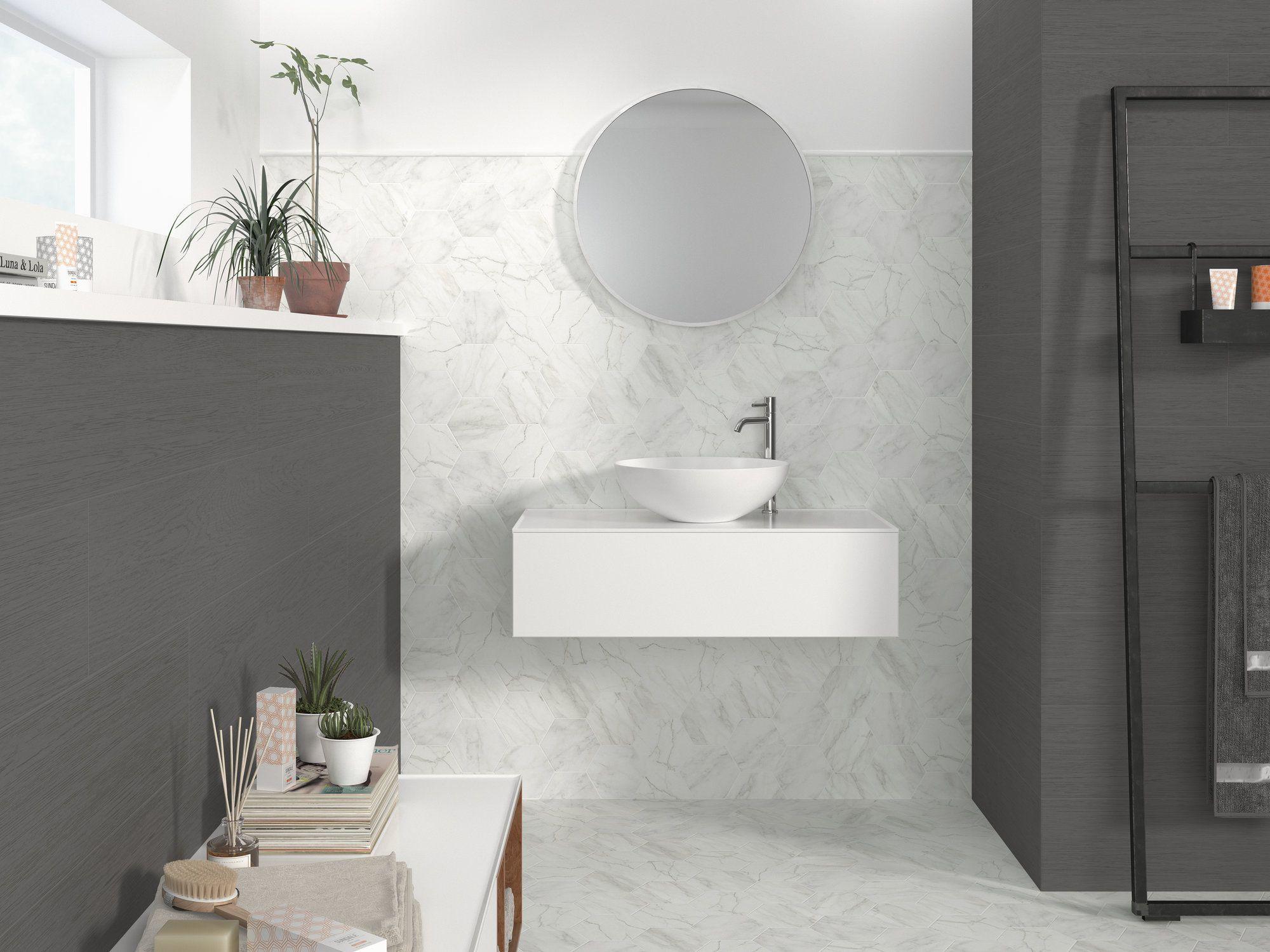 Ape Verona 5x6 Hexagon In White Carrara Look Suitable For Floors And Walls White Bathroom Tiles White Bathroom Tiles Price