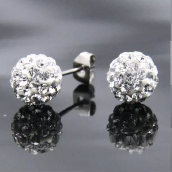 White Crystal Stud Earrings! 10mm Crystal Earrings! Silver plated studs. Perfect for any occasion! Available in multiple colors. Bundles available! Jewelry Earrings