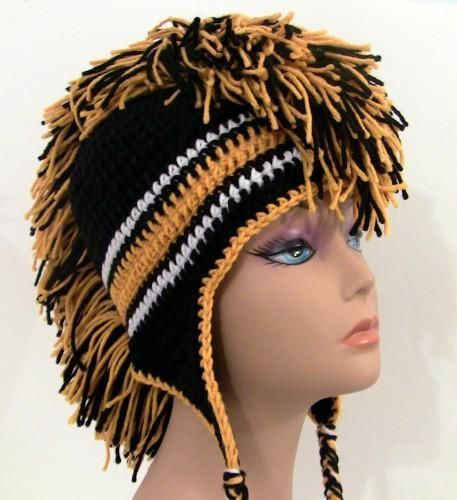 Crochet Mohawk Hat - Black and Gold | Mohawks, Crochet and Free pattern