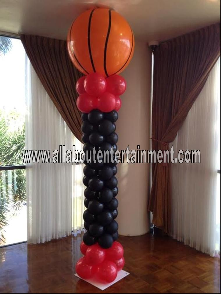 Basketball balloon tower from for Balloon decoration chicago