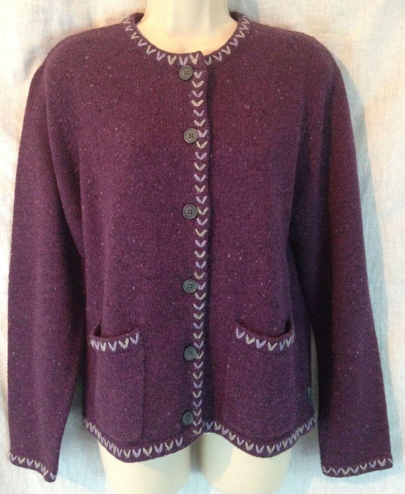 Woolrich Women's Medium Amethyst Heather Purple 2 Pocket Cardigan ...
