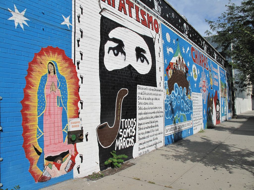 A long shot of the zapatista mural created by el guerro for Mural zapatista
