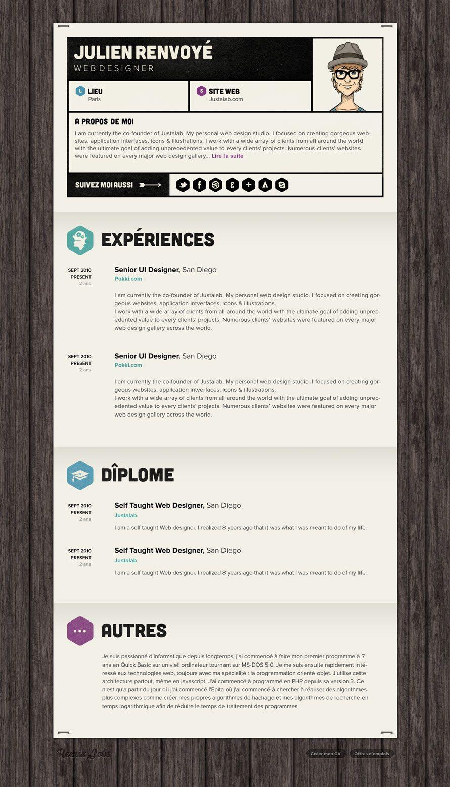 Emploi Informatique Et Recrutement Freelance Remixjobs Emploi Design Cv Inspiration Cv Ingenieur
