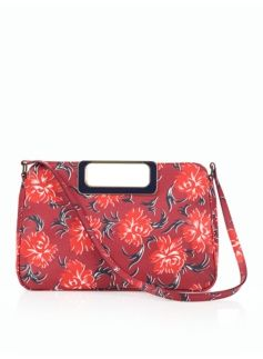 Cut-Out Handle Floral Leather Bag