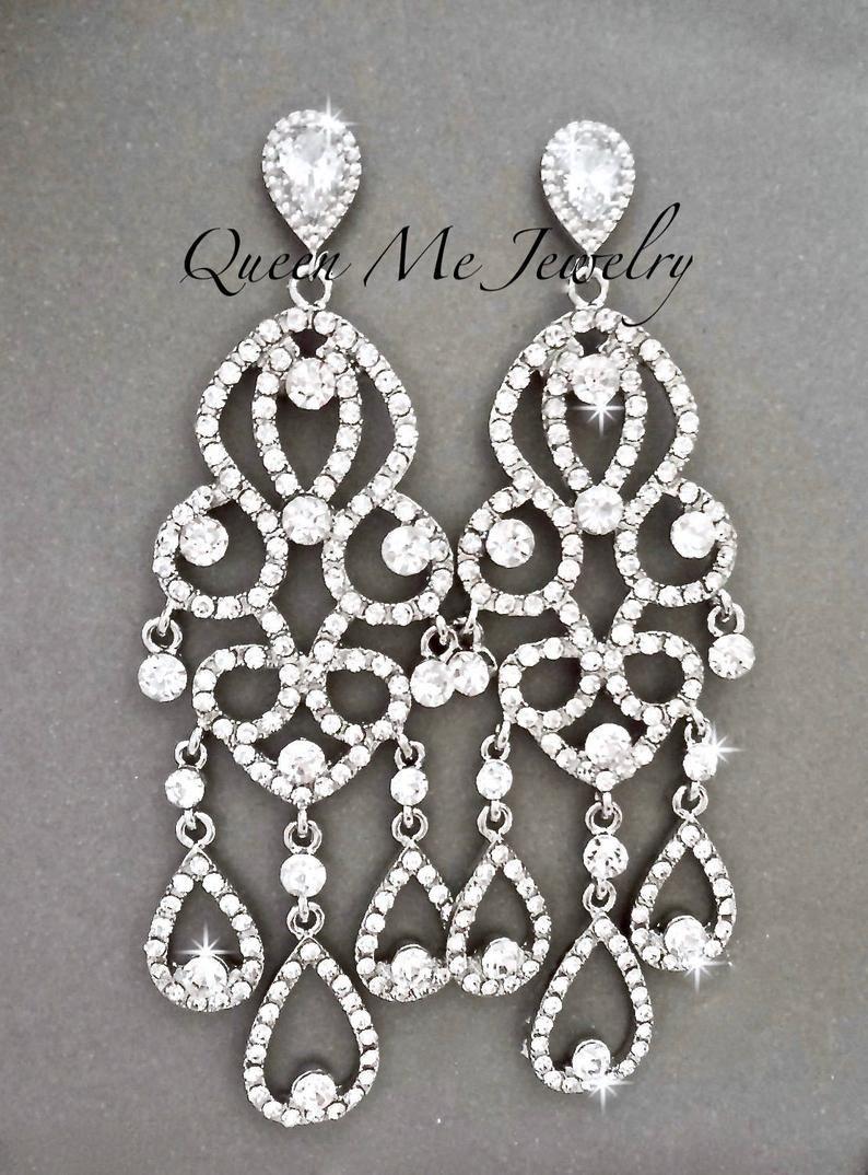 Victorian earrings crystal pierced earrings rhinestone earrings statement earrings chandelier wedding jewelry Bridal gold earrings